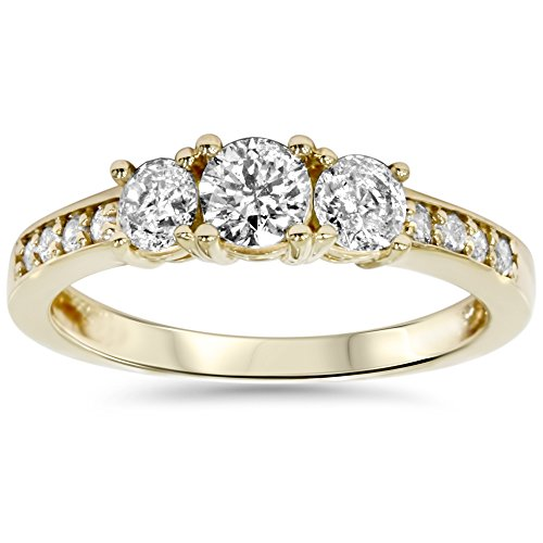 Yellow Gold 3 Stone Ring - 6