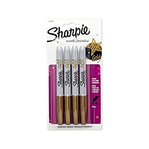 Sharpie 1829198 Metallic Fine Point Permanent Marker, Gold, 4-Pack Color: Flourescent Gold Size: 4-Pack Model: 1829198