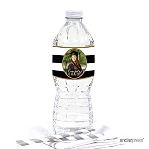 Andaz Press Personalized Graduation Photo Party Collection, Water Bottle Labels, 20-Pack, Custom Image