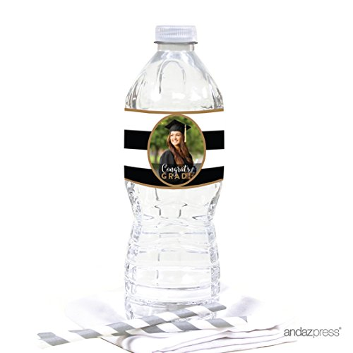 Andaz Press Personalized Graduation Photo Party Collection, Water Bottle Labels, 20-Pack, Custom Image -