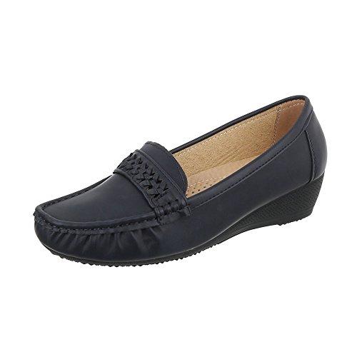 Ital-Design Chaussures Femme Mocassins Compensé Mocassins Bleu Pointure 37
