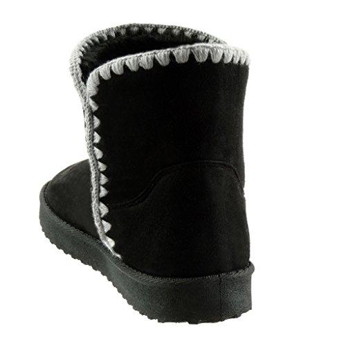 Botas ganchillo Botines nieve Moda Tal mujer Angkorly de Zapatillas de wIpFBqPw