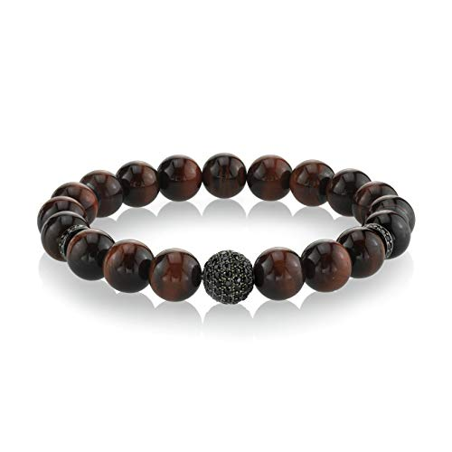 SPARTAN Men's 8mm Beaded Bracelet with Red Tiger Eye | 925 Sterling Silver Connecting Beads with Black Spinel Fits 7 to 8 Inch Wrists Men's Accessories Fashion Bracelet ()