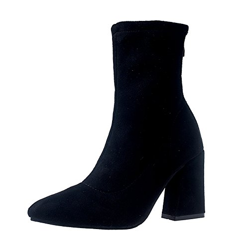 Shoes Female All Black Fashion Match High Heeled Tip New Spring Shoes Suede Coarse KPHY 7xq5SB7