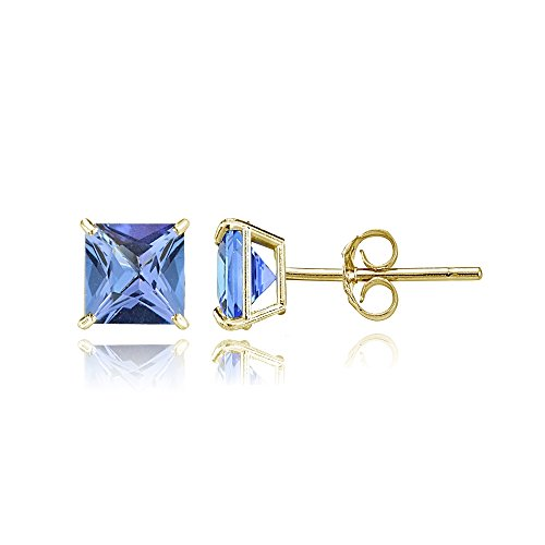 Bria Lou 14k Yellow Gold Tanzanite Gemstone 5mm Square-Cut Solitaire Stud Earrings by Bria Lou