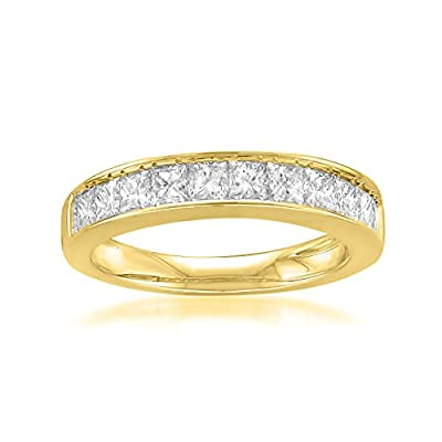 14k Yellow Gold Princess-cut 11-Stone Diamond Bridal Wedding Band Ring (1 cttw, J-K, SI1-SI2)