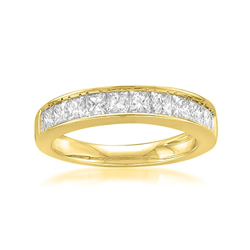 (14k Yellow Gold Princess-cut 11-Stone Diamond Bridal Wedding Band Ring (1 cttw, J-K, SI1-SI2), Size 5.5)