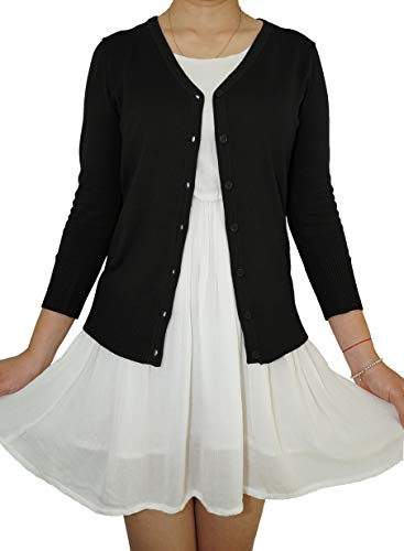 Fit Apparel - Casual Elegant V-Neck Soft Knit 3/4 Sleeve Button Down Vintage Classic Basic Cardigan Sweater (Black, Medium)