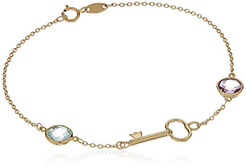 14k Yellow Gold Round Amethyst and Sky Blue Topaz Key Bracelet, 7.25