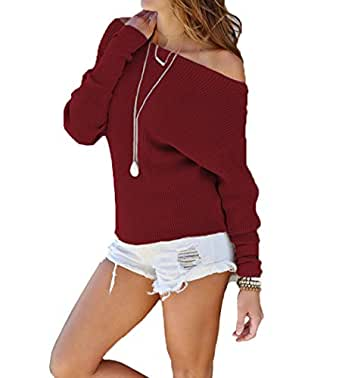 Suimiki Women's Sexy Pullover Knit Shirts One Off Shoulder Sweater Top Wine Red Medium