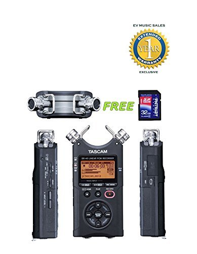 Handheld 4-Track Recorder with a Free Patriot 32GB SD Card and 1 Year Free Extended Warranty - Tascam DR-40