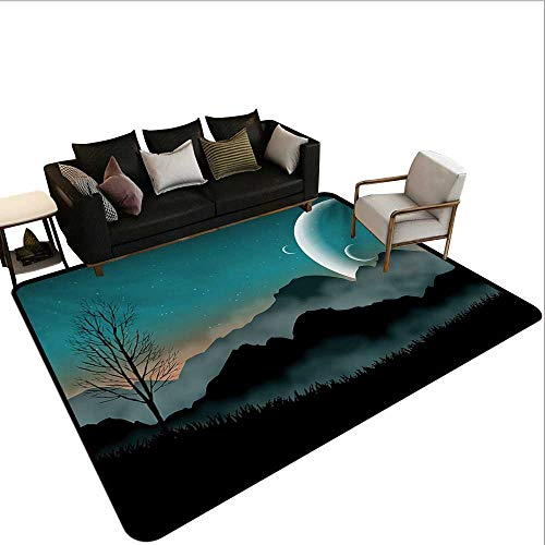 (Decorative Floor mat,Night Sky on Mountain Range Forest Crescent Moon Star Cosmic Infinity Astral Graphic 6'6