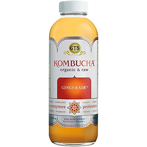 GT'S ENLIGHTENED KOMBUCHA Organic Raw Kombucha Tea, Gingerade, 16.2 Ounce (Pack of 12)