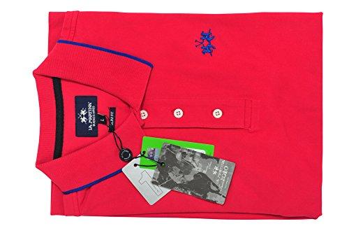 La Martina Polo Poloshirt Herren Rosa Blau Slim Fit Baumwolle Casual S