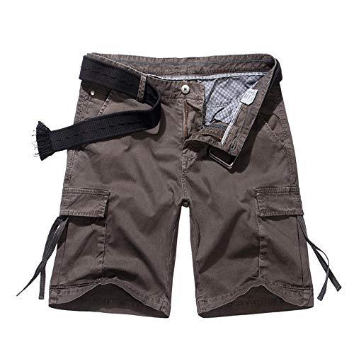 AKAMRY Men's Multi Pocket Loose Fit Cotton Twill Cargo Shorts DK3845 Brown 30