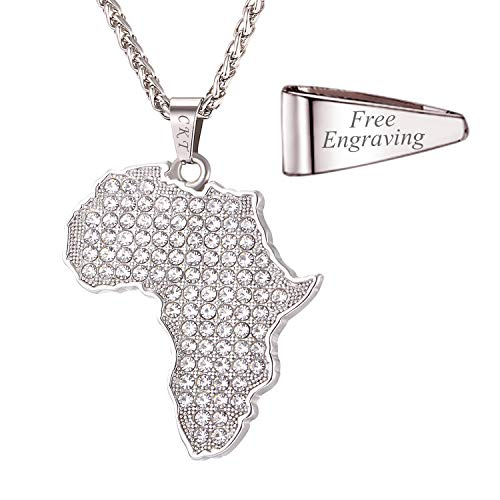 U7 Unisex Crystal Pendant with 22 Inch Chain Hip Hop Jewelry High Polished Stainless Steel Africa Map Necklace, Customized Message Engrave on Pendant Loop ()