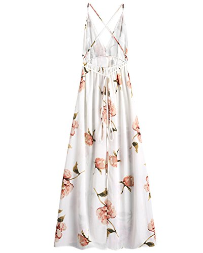 Sleeveless Women's Maxi Dress Front Slit Beach Strap ZAFUL Sexy V Cross White Spaghetti Neck Dress Criss Floral qxIwCd