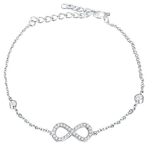EVER FAITH® 925 Sterling Silber Bling Figure 8 Unendlichkeit Pave CZ Armkette Kette N06054-1