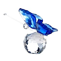 Blue Crystal Butterfly Paperweight with Glass Crystal Ball