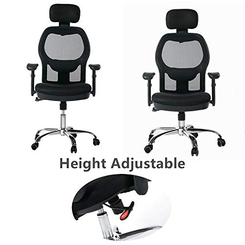 Winmi High Back Mesh Ergonomic Office Chair with Headrest and Armrest, 360 Degree Swivel Executive Computer Desk Task Chair,Back Lumbar Support, Black by Winmi (Image #3)