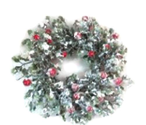 Wreath or Candle Ring with Snowy Glittered Holly Leaves and Red Berries -