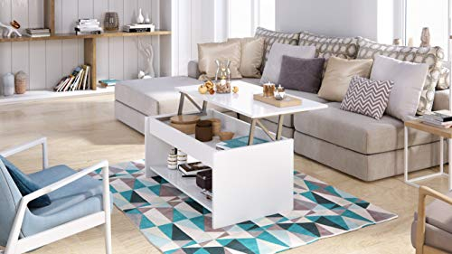 Marque Amazon –Movian – Table basse avec plateau relevable et petite étagère Aggol Modern, 50 x 100 x 44, Blanc
