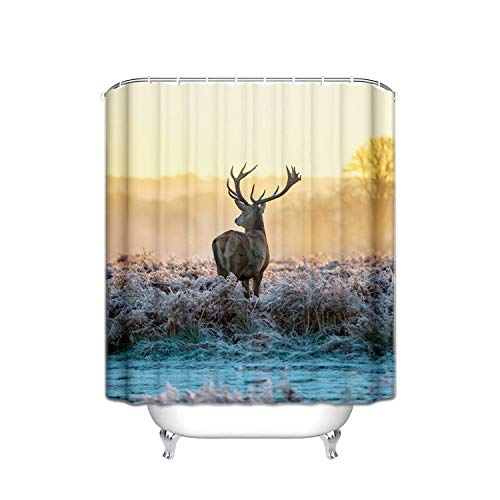ALDECOR Polyester Sunset Animal Deer Shower Curtain with Hooks Resistant Shower Curtain No Odor, Chlorine Free 48