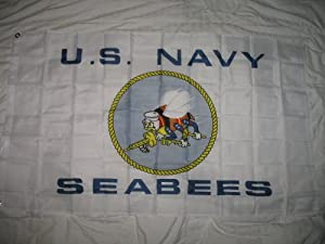 Seabees (White) - 3' x 5' Polyester Flag from Flagline