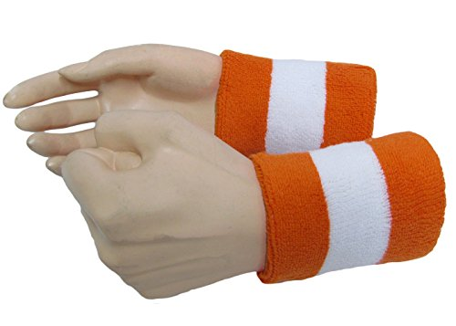 Semi-pro Jackie Moon Halloween White Orange White Cotton Terry Cloth Wrist Sweat Band]()