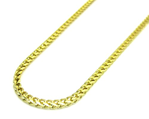 14K Yellow Gold Men Women's 2MM Solid Franco Bracelet, 7 Inches by Jawa Fashion