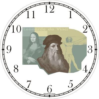 Leonardo Da Vinci with Mona Lisa Vitruvian Man in Background Wall Clock by WatchBuddy Timepieces Black Frame