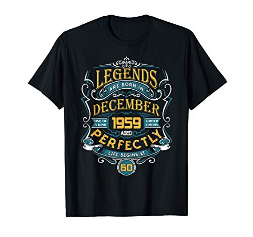 Legends Are Born In December 1959 60th Birthday Gift T-Shirt