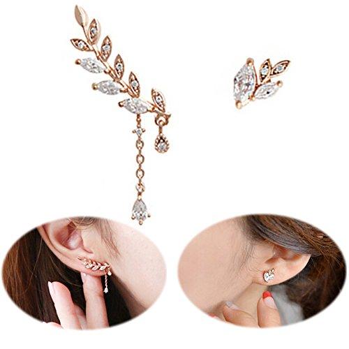 Ear Climber Earrings Leaves Crawler Chandelier Ear Cuffs Crystal Asymmetric