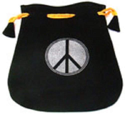 Black Velvet Bag/Pouch 5'' x 5'': Peace Sign (Wicca Talisman Drawstring)