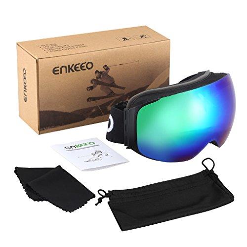 c8bc8907273 Enkeeo Ski Goggles Detachable Dual Layer Anti-Fog Lens 100% UV400 Protection