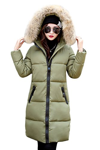 Women's Cotton Jacket Color Down Winter YMING Long Solid Winter Green04 Eqndx8OTfw