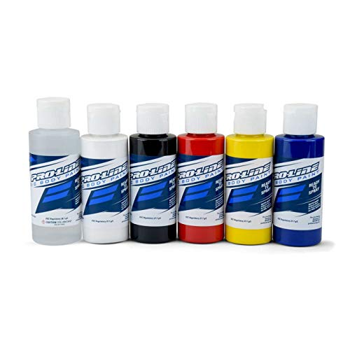 Pro-line Racing RC Paint Primary Color Set, Reducer/White/Black/Red/Yellow/Blue, PRO632300 ()