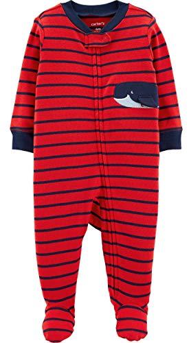 Carter's Baby Boys Striped Whale Sleep & Play Newborn Red/Blue