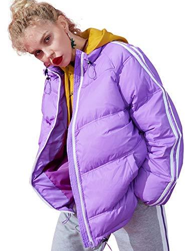 Oversize Blocking Riflettente Orlo Elf Regolabile Alto Porpora Invernali Sack Capispalla Cerniera Collo Donna Giacche Colour Piumini vaqCIH