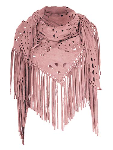 Fringed Jacket Womens - Women's Suedette Laser Cut Fringed Cape Shawl Triangle Wrap Scarf (Pink)