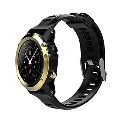 H1 Smart Watch Android 5.1 OS Smartwatch MTK6572 512MB 4GB ROM GPS SIM 3G Heart Rate Monitor Camera Waterproof 30M Diving Sports Wristwatch (Gold)