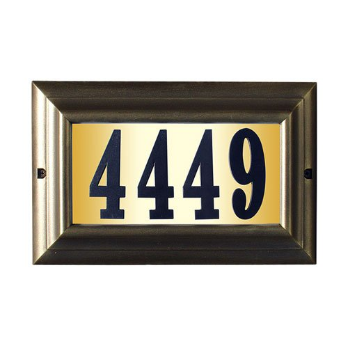Qualarc LTL-1301FB-PN Edgewood Large Lighted Address Plaque in French Bronze Frame Color with 4-Inch Black Polymer Numbers by Qualarc