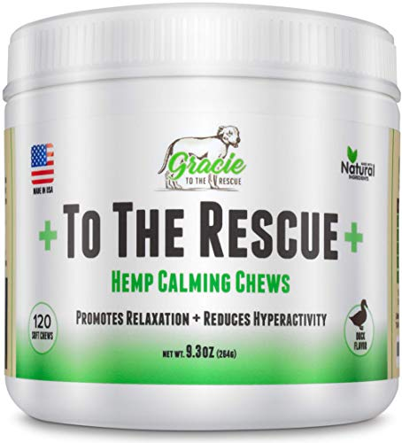 Calming Treats for Dogs | 120 Hemp Oil Infused Soft Chews for Dog Anxiety Relief, Separation Anxiety, Motion Sickness, Hyperactive Behavior, Composure Aid, Thunder Storms and More | +To The Rescue+