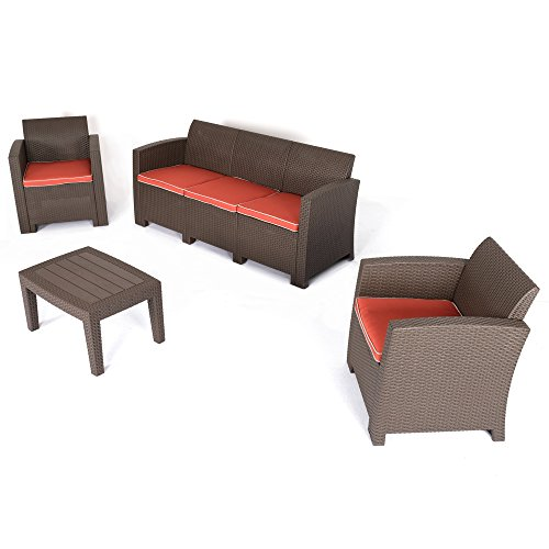 Cheap D+ Garden 3-Seater Brown Sectional Sofa and Loveseat Patio Conversation Set, All Weather 4-Piece Wicker Plastic Outdoor Furniture for Balcony Garden Backyard Pool, w/Red Cushions