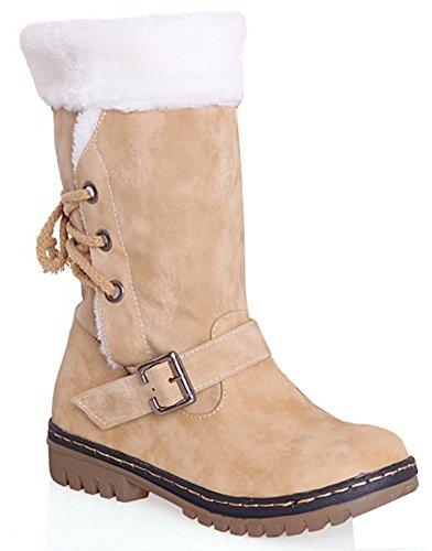 IDIFU Womens Warm Buckled Lace Up Faux Fur Lined Chunky Heels Mid Calf Snow Boots Yellow QPzXZ
