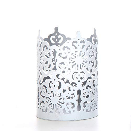 7 Inch Candlelight Holder - Hosley Flower 7 Inch High LACE Candle Holder White LED Votive Tealight Holder Lantern Ideal Gift for Weddings Party Use with Jar Candles Tealights Votive Candle Gardens Aromatherapy Spa O5