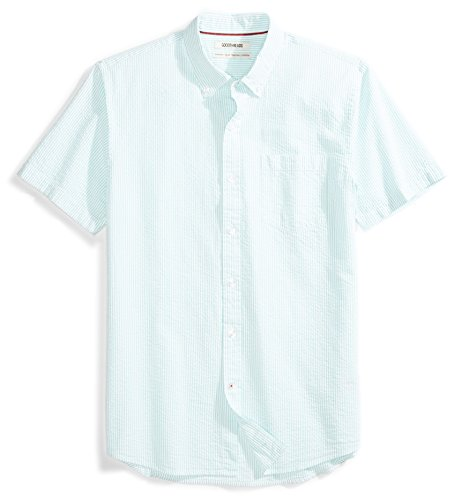Goodthreads Men's Standard-Fit Short-Sleeve Seersucker Shirt, Green/White, Large ()