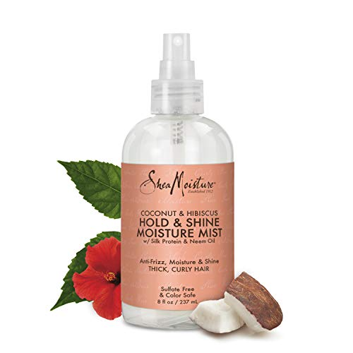Shea Moisture Coconut Hibiscus Hold & Shine Daily Moisture Mist, 8 Ounce - Hair Shampoo Natural Color Enhancing