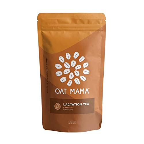 Oat Mama Lactation Tea, Organic Chai Spice, Supports a Healthy Milk Supply for Breastfeeding Moms, Naturally Decaffeinated, With Fenugreek Leaf, 14 count