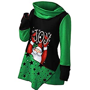 RUIVE Christmas Pullover for Women's Xmas Claus Print Tops Patchwork Sweatshirt Turtle Neck Girls Basic Blouse